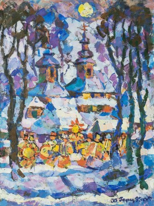 Y. Herts Christmas In Verkhovyna', 1995, tempera on canvas, 80x60