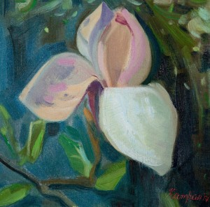 Y. Katran Magnolia', 2017, oil on canvas, 25x25
