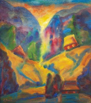 L. Mykyta 'Evening', 1997, tempera om cardboard, 76x67