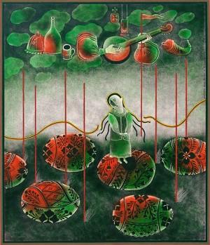 Пономаренко Н. 'Теніс увечері '. Із серії 'Спогади про Вірменію ', 1978, пап.зміш.техн., 33,5х37,5