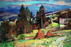 Y. Savinykh Yasinia Village Polonynas', 2010, oil on cardboard, 40x60