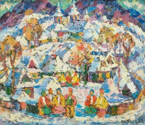 Y. Herts Winter. The Carpathian Christmas Motif', 1997, tempera on cardboard, 65x75