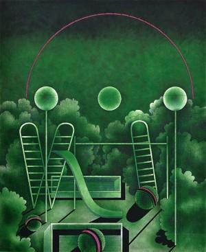 N. Ponomarenko 'Playground', 1972, mixed technique on paper, 50x41.jpg