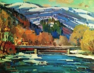Савіних Я. 'Рахів. Міст через Тису', 2010, п.о., 60х70