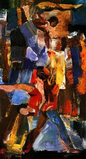 'Acrobats', 1989, oil on fiberboard, 60,5х34