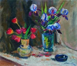 Натюрморт з ірисами і тюльпанами
