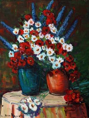 D. Mitsovda Flowers In Jugs', 2017, oil on canvas, 46x35