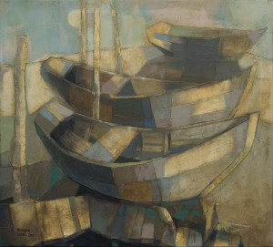 E. Prykhodko From the series 'Boats', 2009, mixed technique on canvas, 90x100