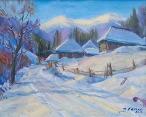 V. Senko Mountain Village Bukovets', 2010, oil on canvas, 45x55