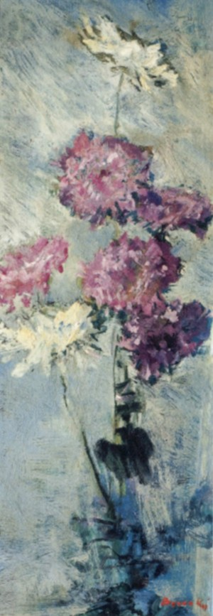 Chrysanthemums, 1980, oil on cardboard, 80x28