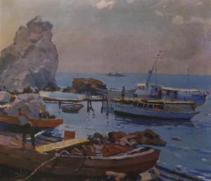 Біля причалу. Гурзуф, 1957, п.о. 60х67