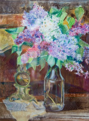 Y. Katran Still Life With Lilac', 2016, pastel on paper, 46x62,5