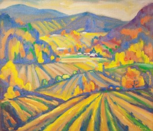 L. Mykyta 'Dynamics Of Borzhava Valley', 2000, tempera on cardboard, 75x80