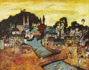 Ужгородська Венеція, 1990, т.двп, левкас, жовткова емульсія