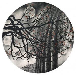 N. Ponomarenko 'Chestnut And Poplars', 1983, mixed technique on paper, d-39.jpg