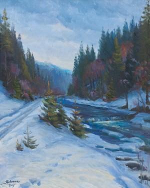 V. Senko December On The Chorna River', oil on canvas, 75x60