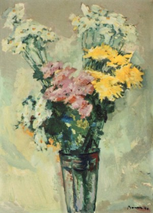 Chrysanthemums in a Glass Vase, 1980, oil on cardboard, 69х50,5
