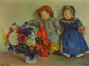 R. Boemm Dolls With Flowers', 60x80