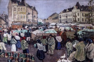 Market In Uzhhorod, 1925, oil on canvas, 54x82