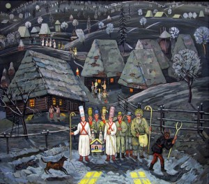 T. Danylych Carol Singers', 2008, tempera on canvas, 66x75