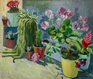 Y. Katran Still Life With Flowerpots', 2017, oil on canvas, 60x70