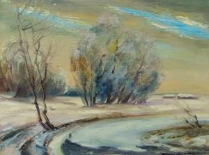 Мадяр Л.'Зимовий пейзаж', 1992, двп,о.. 55х70