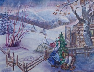 O. Metzher Christmas In The Village', 2018, oil on canvas, 40x50