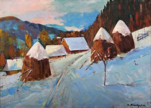D. Mitsovda Haystacks Under The Snow', 2016, oil on canvas, 90x65