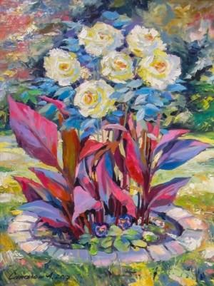 Сакалош А. 'Квіти в саду', 2017, п.о., 53х70