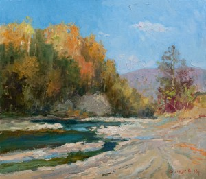 V. Stohnut Valley Of The River Uzh', 2018, oil on canvas, 70x80