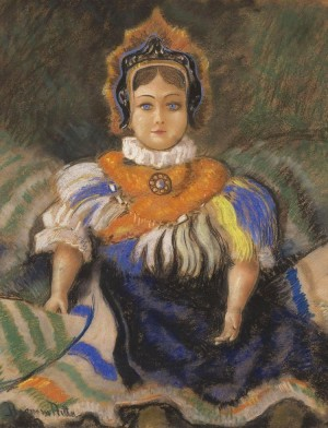 R. Boemm Doll In Kokoshnik', pastel on paper, 48,5x38,5
