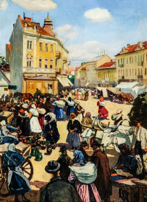 Market In Uzhhorod, 1927, oil on cardboard, 80x59