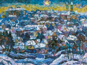 Old Uzhhorod, 1986,  tempera on canvas, 75х100