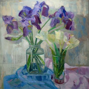 Y. Katran Still Life With Irises And Tulips', 2017, oil on canvas, 60x60