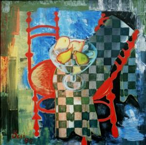 Натюрморт з червоними стільцями, з фотоархіву Небесника Ю., 1992, п.о., 100х100