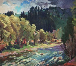 The River Tisza ', 2012, oil on canvas, 70x80