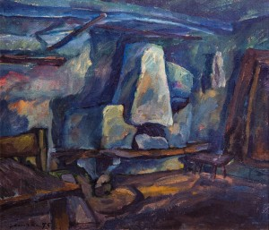 Z. Mychka History', 1975, oil on cardboard, 55x48