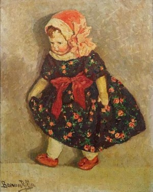 R. Boemm Doll In A Flower Dress'