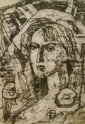 N. Didyk Self-portrait', 1989, monotype, 32x47