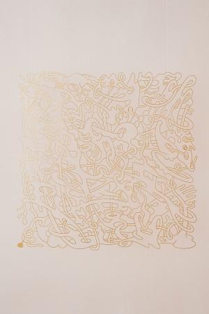 F. Hoppe 'Laocoön', stainless steel, gold leaf, 100x100