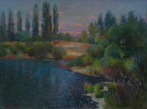 M. Hresko 'Evening Over The Uzh River', 2017, 43x56