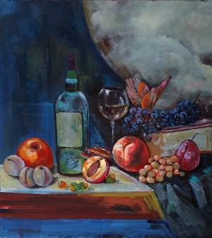 D. Mitsovda Still Life. Wine With Fruits', 2018, oil on canvas, 55x60