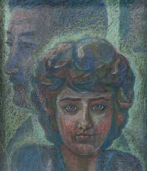 L. Mykyta 'A Girl In Love', pastel on cardboard