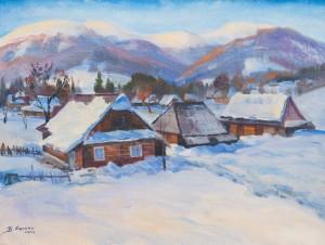 Сенько В. 'Засніжене село', 2003, п.о., 65х75