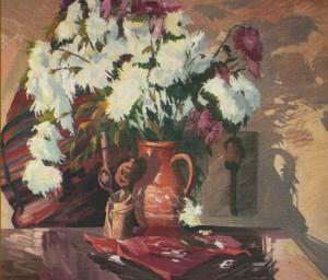 Chrysanthemums', 2001, oil on canvas, 80x90