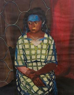 Фірцак Б. 'Портрет художника Олени Придувалової', 2002, к.гуаш, 90х75