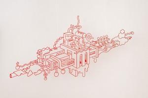 F. Hoppe 'Travellers By Steamer', plexiglas, 80x150