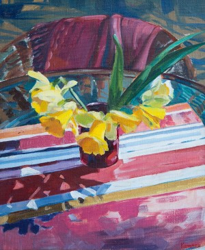 Y. Katran Still Life With Daffodils', 2016, oil on canvas, 50x60