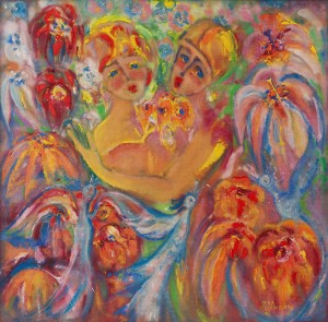 L. Mykyta 'Sweethearts', tempera on canvas