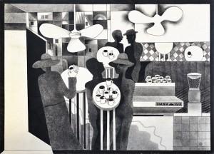 Пономаренко Н. Із серії  'Кафе отруєних', 1975, пап.зміш.техн., 30,5х42,5